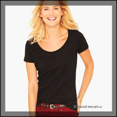 Women's Scoop Neck Sample Tee Black