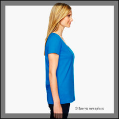Women's Scoop Neck Sample Tee Blue Side