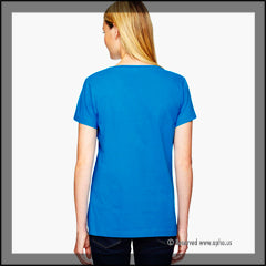 Women's Scoop Neck Sample Tee Blue Back