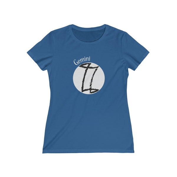 Gemini Zodiac Womens Feminine Fit T-Shirt Blue