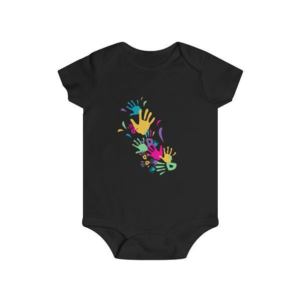 Colorful Hand Impressions Baby Onesies Black