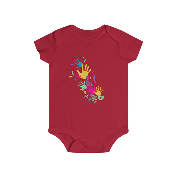 Colorful Hand Impressions Baby Onesies Red