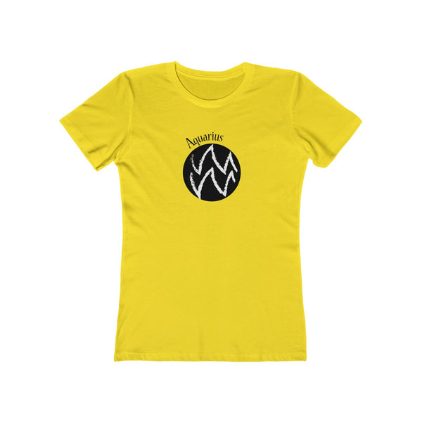Aquarius Zodiac Womens Slim Fit Longer Length T-Shirt (Light Colored) Yellow