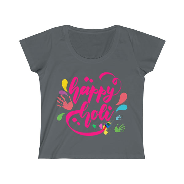 Happy Holi Womens Slim Fit Scoop Neck T-Shirt Gray