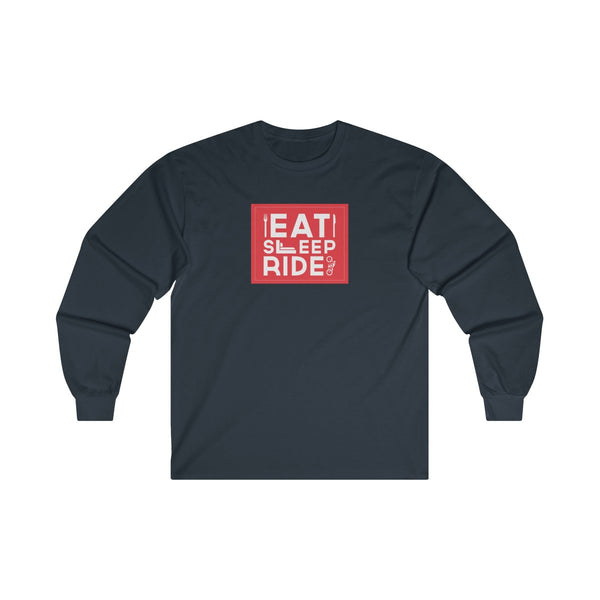 Eat Sleep Ride Mens Classic Fit Long Sleeves T-Shirt Navy