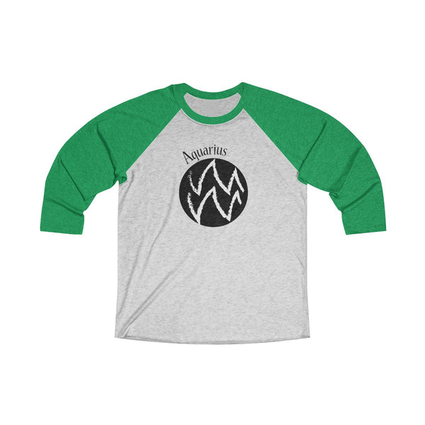 Aquarius Zodiac Unisex Raglan T-Shirt Green