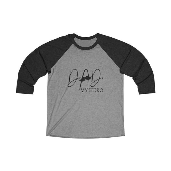 Dad My Hero With Moustache Mens Raglan T-Shirt Black