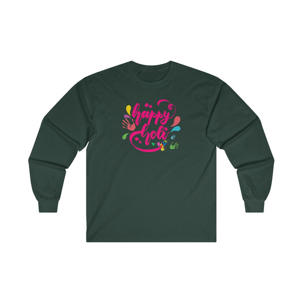 Happy Holi Mens Classic Fit Long Sleeves T-Shirt Forest Green