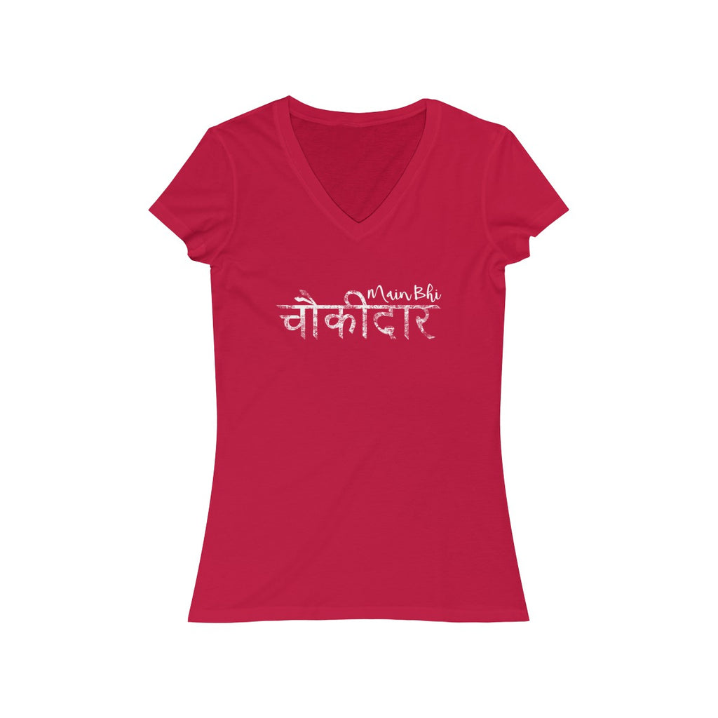 Main Bhi Chowkidar Modi Hindi Text Womens Slim Fit V-Neck T-Shirt