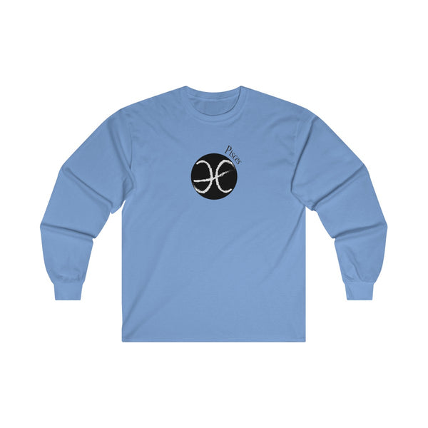 Pisces Zodiac Mens Classic Fit Long Sleeves T-Shirt Blue