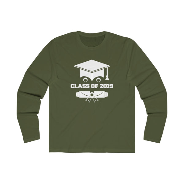 Class of 2019 Smiling Grad Hat and Scroll  Men's Slim Fit Long Sleeves T-Shirt Green