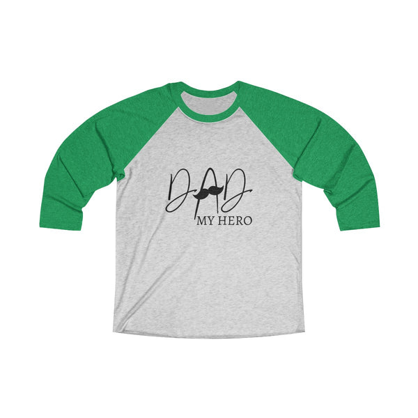 Dad My Hero With Moustache Mens Raglan T-Shirt Green
