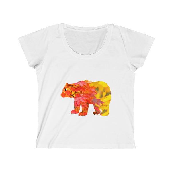 Mama Bear Red Fall Womens Slim Fit Scoop Neck T-Shirt
