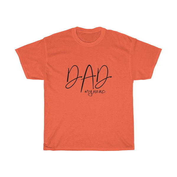 Dad My Hero Without Moustache Mens Classic Fit T-Shirt (Light Colored) Orange