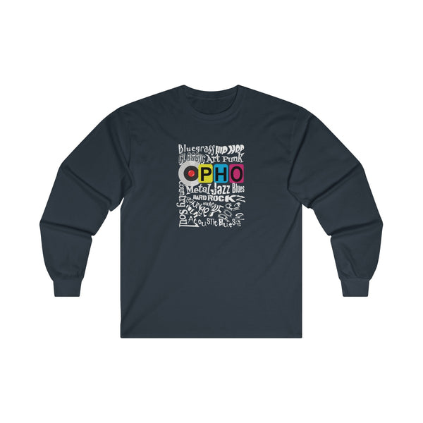 opho Music Genre Mens Classic Fit Long Sleeves T-Shirt Navy