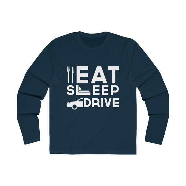 Eat Sleep Drive Mens Slim Fit Long Sleeves T-Shirt Navy