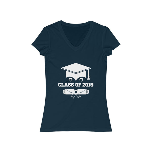 Class of 2019 Smiling Grad Hat and Scroll  Womens Slim Fit V-Neck T-Shirt Navy
