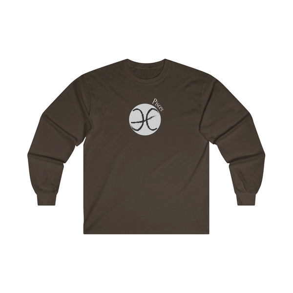 Pisces Zodiac Mens Classic Fit Long Sleeves T-Shirt Brown