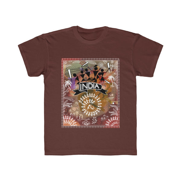 India Cricket Tribal Art Kids Regular Fit T-Shirt Brown
