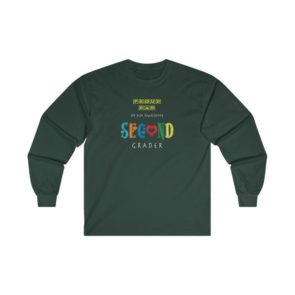 Proud Dad of Awesome Second Grader Mens Classic Fit Long Sleeves T-Shirt
