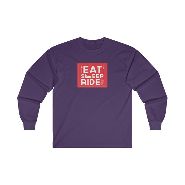 Eat Sleep Ride Mens Classic Fit Long Sleeves T-Shirt Purple