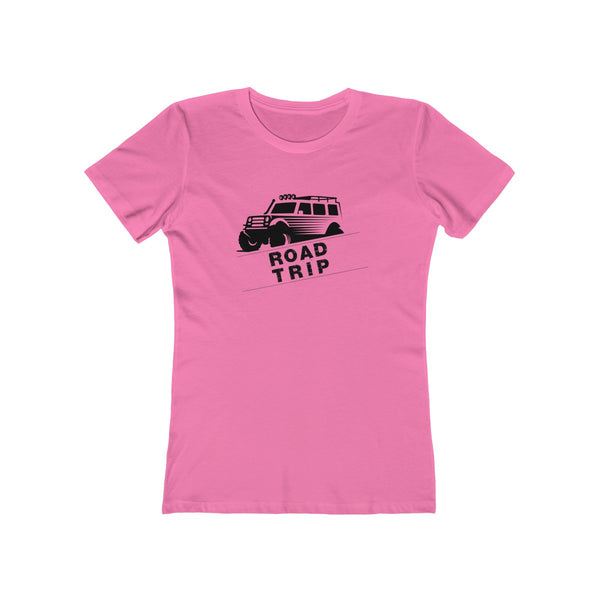 Road Trip Womens Slim Fit Longer Sleeve T-Shirt (Light Colored) Pink