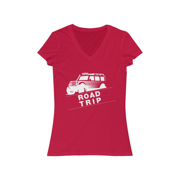 Road Trip Womens Slim Fit V-Neck T-Shirt Pink