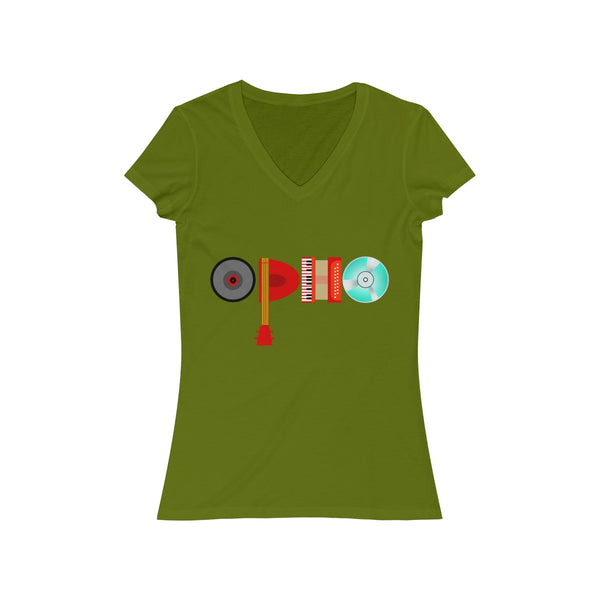 opho Musical Instruments Womens Slim Fit V-Neck T-Shirt Green