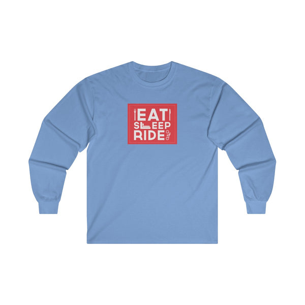 Eat Sleep Ride Mens Classic Fit Long Sleeves T-Shirt Blue