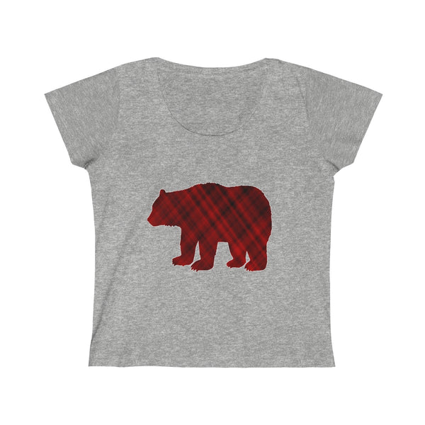 Mama Bear Red Plaid Womens Slim Fit Scoop Neck T-Shirt