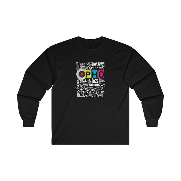 opho Music Genre Mens Classic Fit Long Sleeves T-Shirt Black