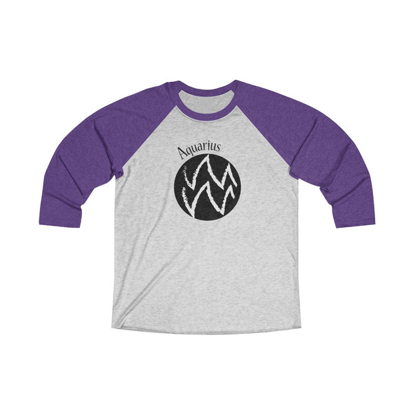 Aquarius Zodiac Unisex Raglan T-Shirt Purple