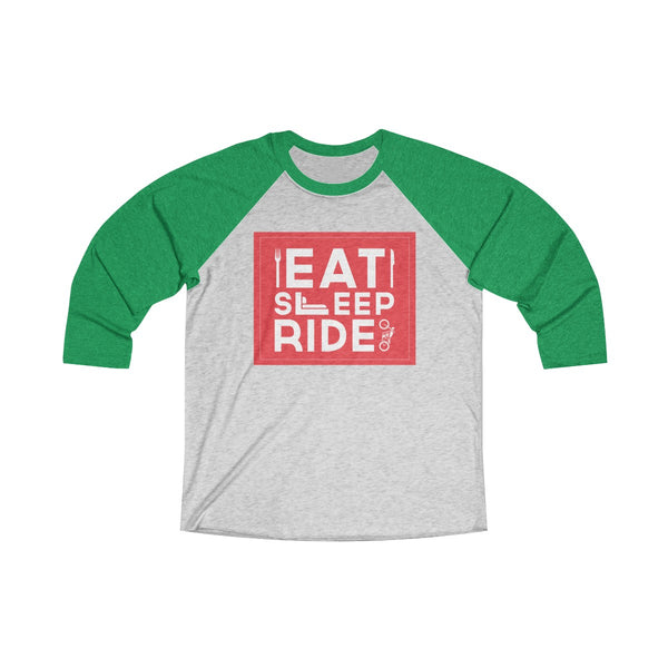 Eat Sleep Ride Unisex Raglan T-Shirt Green