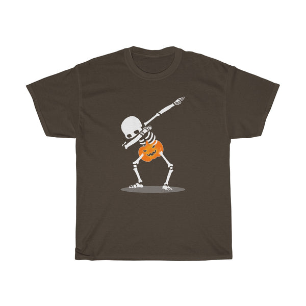 Halloween Dabbing With Pumpkin T-Shirt Brown