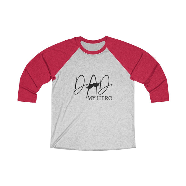 Dad My Hero With Moustache Mens Raglan T-Shirt Red