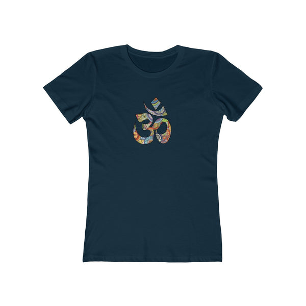 Colorful Hand Drawn Om Symbol Womens Slim Fit Longer Length T-Shirt