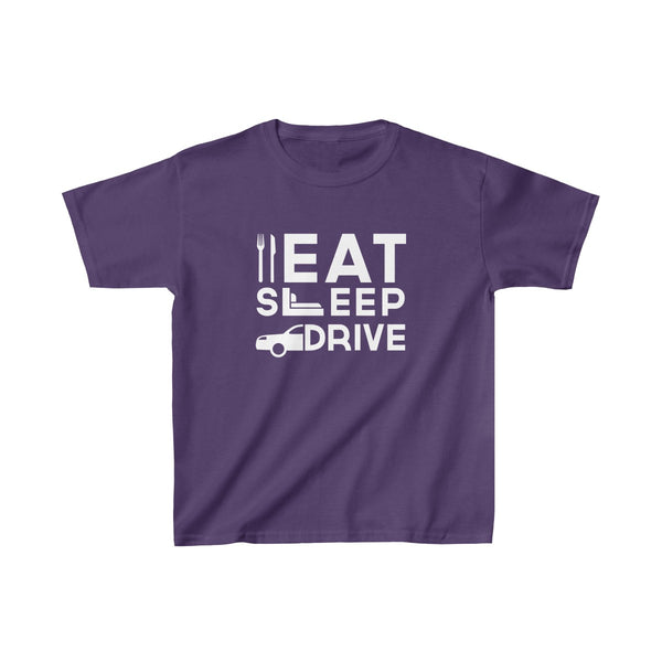 Eat Sleep Drive Kids Classic Fit T-Shirt Purple