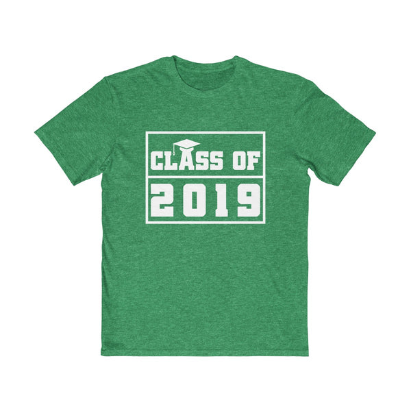 Class of 2019 Graduation Hat  Men's Semi Slim Fit T-Shirt Green