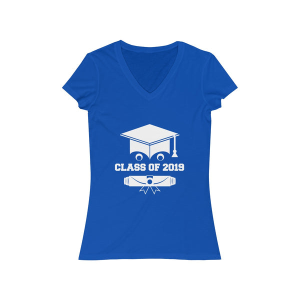 Class of 2019 Smiling Grad Hat and Scroll  Womens Slim Fit V-Neck T-Shirt Blue