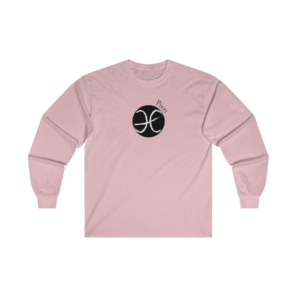Pisces Zodiac Mens Classic Fit Long Sleeves T-Shirt Pink