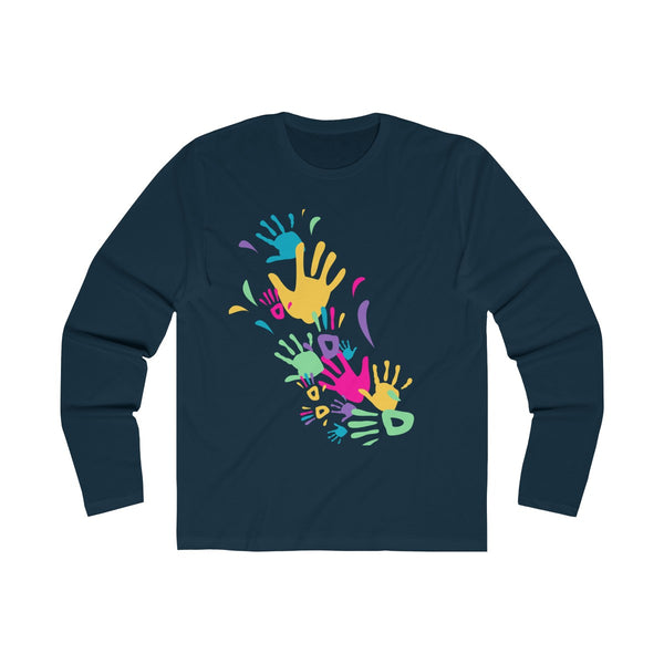 Colorful Hand Impressions Mens Slim Fit Long Sleeves T-ShirtColorful Hand Impressions Mens Slim Fit Long Sleeves T-Shirt Navy