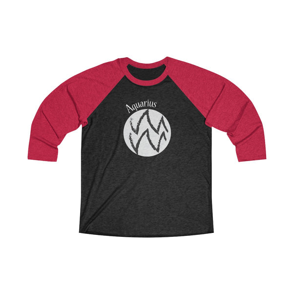 Aquarius Zodiac Unisex Raglan T-Shirt Red