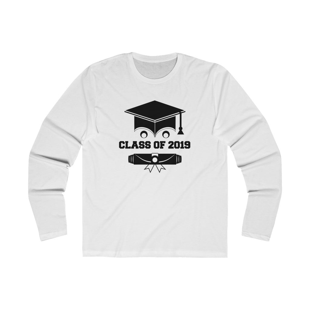 Class of 2019 Smiling Grad Hat and Scroll Men's Slim Fit Long Sleeves T-Shirt