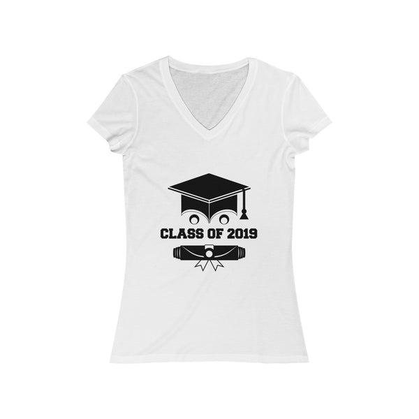 Class of 2019 Smiling Grad Hat and Scroll  Womens Slim Fit V-Neck T-Shirt White