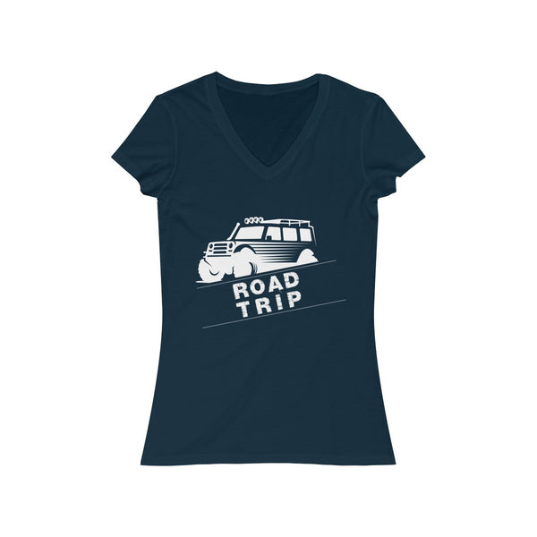 Road Trip Womens Slim Fit V-Neck T-Shirt Navy