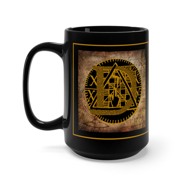 Gothic 'Alphabet D' Black Base Ceramic Mug 15oz