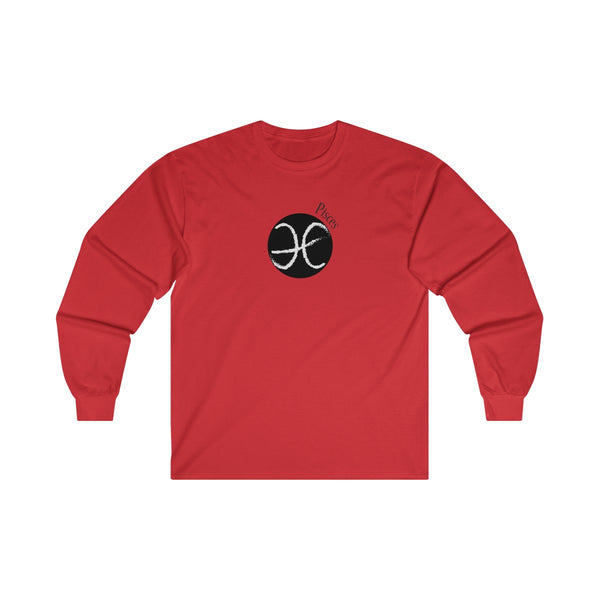 Pisces Zodiac Mens Classic Fit Long Sleeves T-Shirt Red