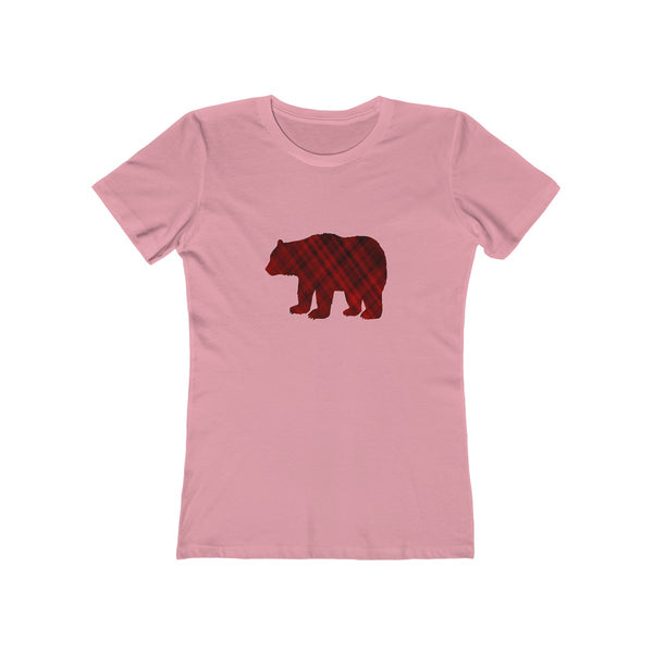 Mama Bear Red Plaid Womens Fit Longer Length T-Shirt
