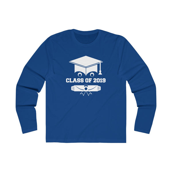 Class of 2019 Smiling Grad Hat and Scroll  Men's Slim Fit Long Sleeves T-Shirt Blue