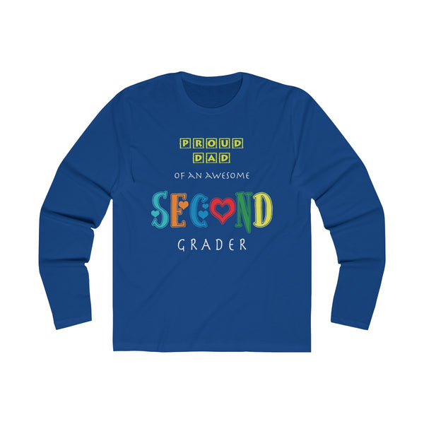 Proud Dad of Awesome Second Grader Mens Slim Fit Long Sleeves T-Shirt